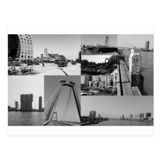 Fotocollage Rotterdam 2 in Schwarzweiss Postkarte