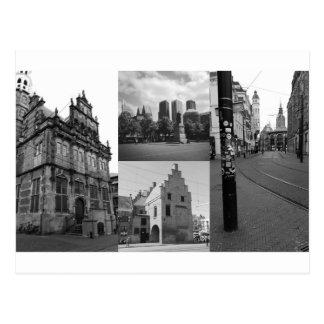 Fotocollage von Den Haag 1 in Schwarzweiss Postkarte