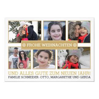 Fotocollage von sechs Fotos FROHE WEIHNACHTEN 12,7 X 17,8 Cm Einladungskarte