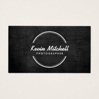 Fotograf, Fotografie-Logo auf schwarzem Holz Visitenkarte