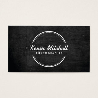 Fotograf, Fotografie-Logo auf schwarzem Holz Visitenkarten
