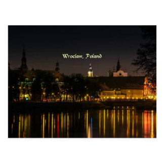 Fotografie Breslaus, Polen-Stadtbild, Dämmerung Postkarte