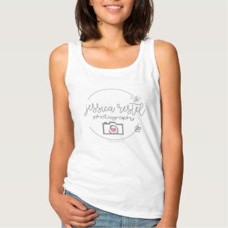 Fotografie-weißes Trägershirt-Logo Jessicas Restel Tank Top