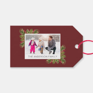 Fotoi Watercolor-Kiefern-Nadel-Weihnachten Geschenkanhänger