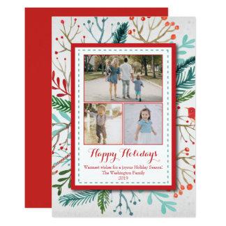 Fotokarte des Watercolor-Weihnachtsfeiertags drei 12,7 X 17,8 Cm Einladungskarte