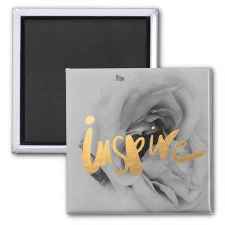 Fotomagnet Rose Grau Gold Schrift Quadratischer Magnet