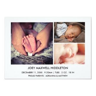 Fotos der Geburts-Mitteilungs-drei neugeboren Karte
