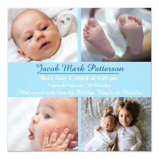 Fotos des Blau-4 - Geburts-Mitteilung Karte