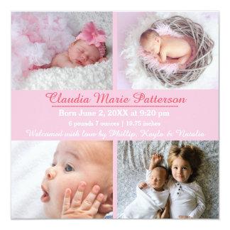 Fotos des Rosa-4 - Geburts-Mitteilung Quadratische 13,3 Cm Einladungskarte