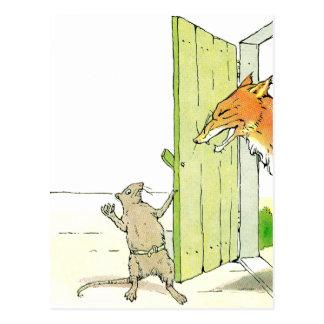 Fox an der Tür Postkarte