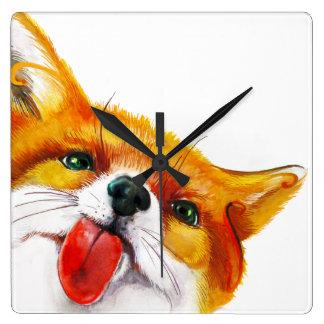 Fox-Aquarell Quadratische Wanduhr