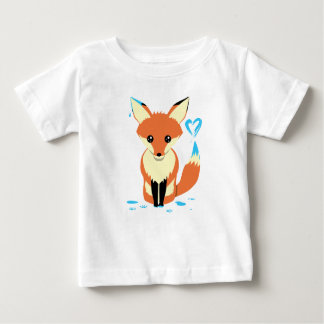 Fox-Baby, das blaues Herz mit dem Schwanz malt Baby T-shirt