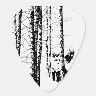 Fox-Birken-Baum-WaldtierSilhouette-Natur-Kunst Plektrum