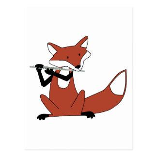 Fox, der die Flöte spielt Postkarte