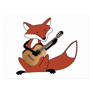 Fox, der die Gitarre spielt Postkarte