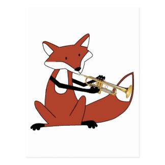Fox, der die Trompete spielt Postkarte