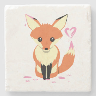 Fox, der rosa Herz-niedlichen SteinUntersetzer