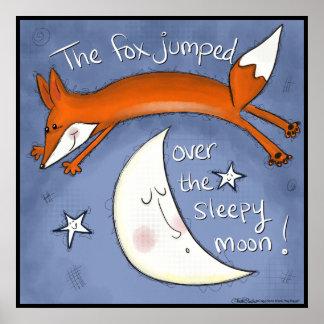 Fox gesprungen über den Mond Poster
