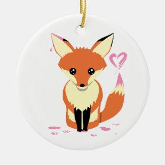 Fox-Herz-Verzierung des kundenspezifischen Babys Keramik Ornament
