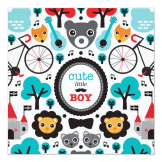Fox-Hipsterlöwe-Babyjungen-Mitteilungs-Babydusche Quadratische 13,3 Cm Einladungskarte