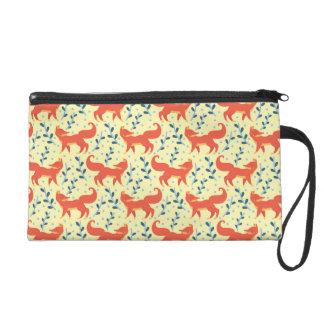 Fox im Waldvektornahtlosen Muster Wristlet Handtasche
