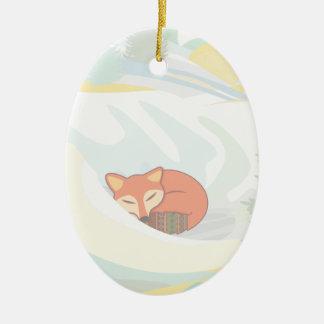 Fox im Winter Ovales Keramik Ornament