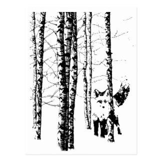 Fox in der Birken-Waldmodernen Kunst Postkarte
