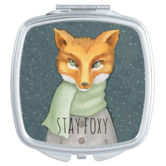 Fox in der Schneefall-Aquarell-Illustration Taschenspiegel