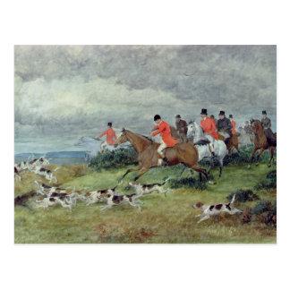 Fox-Jagd in Surrey, 19. Jahrhundert Postkarte