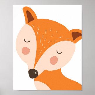 Fox-Kinderzimmerkunstdruck Waldschlafzimmerkunst Poster