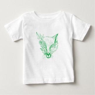 Fox-Kopf mit dem Blumen-und Blätter-Zeichnen Baby T-shirt