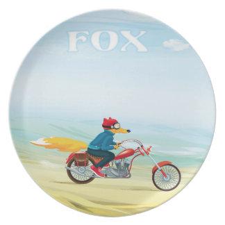 Fox-Man auf einem roten Motorrad Melaminteller