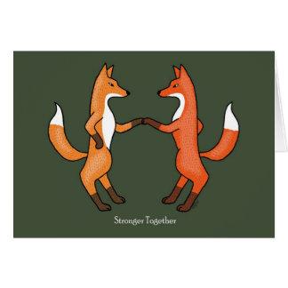Fox-Paar-Hochzeitstag-Kunst-Karten-rote Füchse Karte