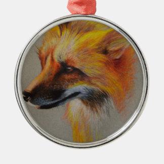 Fox-Porträt Silbernes Ornament
