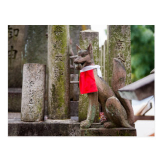 Fox-Statue von Fushimi Inari Schrein Postkarte