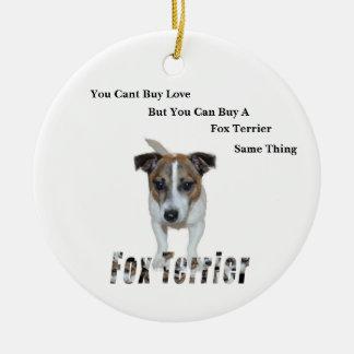Fox-Terrier Sie schräges Kauf-Liebe-Logo, Keramik Ornament