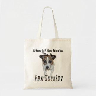 Fox-Terrier und ein Haus ist ein Zuhause-Logo, Tragetasche
