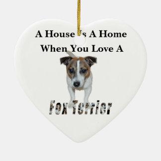 Fox-Terrier-und Fox-Terrier-Liebe-Logo, Keramik Ornament