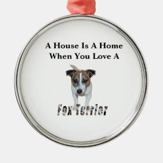 Fox-Terrier-und Fox-Terrier-Liebe-Logo, Silbernes Ornament