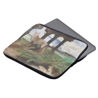 Fox und Häschen-Wasserfarbe-Entwurf hüllen obere Laptopschutzhülle