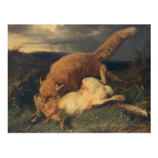 Fox und Hasen, 1866 Postkarte