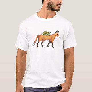 Fox und Schildkröte-Druck-T - Shirt