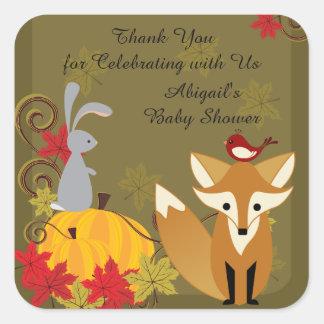 Fox und Waldtierfall-Babyparty danken Ihnen Quadratischer Aufkleber