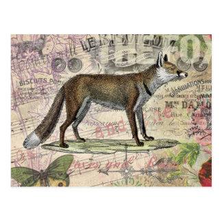 Fox-Vintage Tiercollage Postkarte