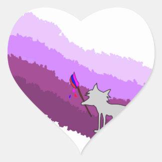 Fox von Farben Herz-Aufkleber