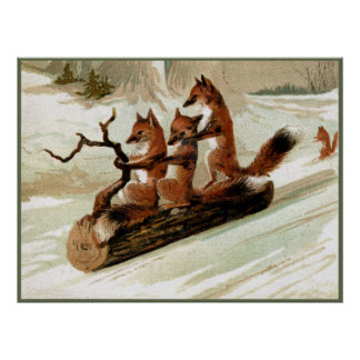 Foxsleigh-FahrVintager Druck Plakat