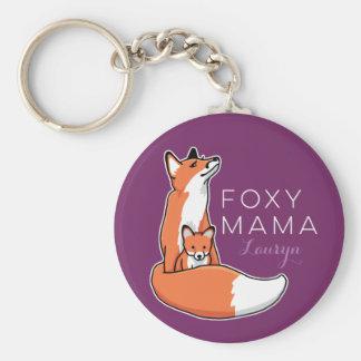 Foxy Fox-Mutter mit dem Baby, personalisiert Schlüsselanhänger