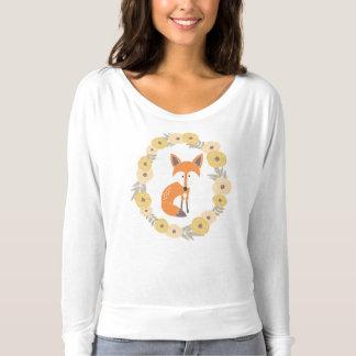 Foxy langes Hülsen-Vorgespinst-mit Blument-Stück T-shirt