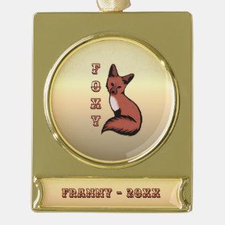 Foxy roter Fox-Goldname und -jahr Banner-Ornament Gold