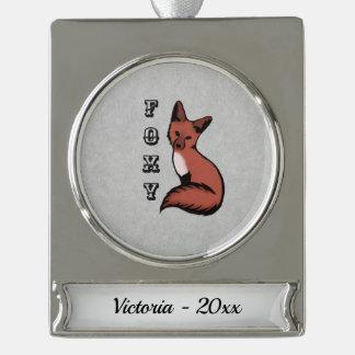 Foxy roter silberner Name und Jahr Fox Banner-Ornament Silber